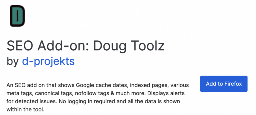 Doug Toolz banner on the firefox add on store