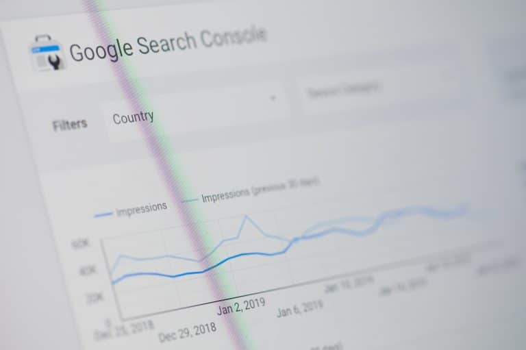 Google search console menu on device screen pixelated close up view