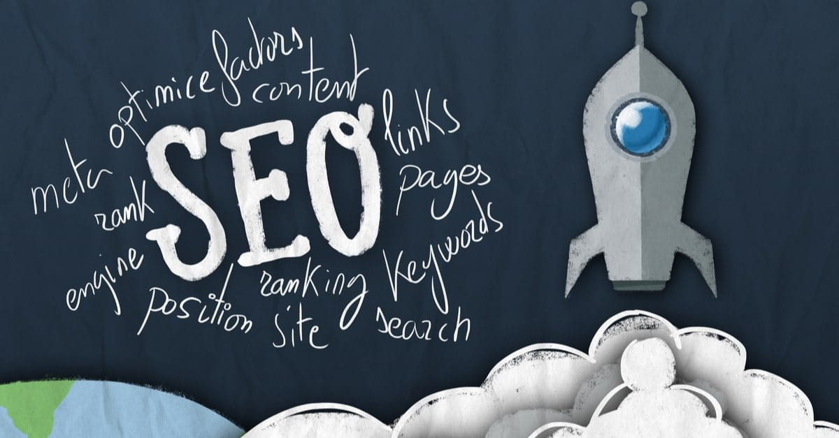 Rocket ship launching with a word cloud around seo
